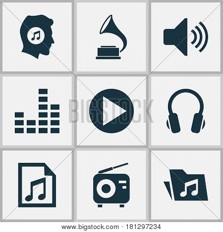 Multimedia Icons Set. Collection Of File, Sound, Phonograph And Other Elements. Also Includes Symbols Such As Controlling, Play, Speaker.