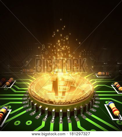 Concept Of Bitcoin Like A Computer Processor With Magic Digital Light On Motherboard. 3D Illustration.