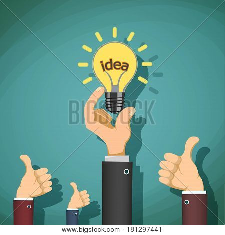 Man holds in his hand light bulb with the word idea. Stock vector illustration.