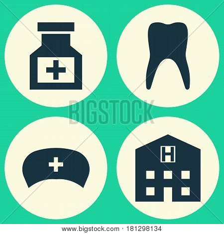 Medicine Icons Set. Collection Of Cap, Dental, Drug And Other Elements. Also Includes Symbols Such As Medicament, Drug, Heartbeat.