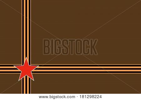 Red star of Russian armed forces with intersection St. George ribbons on green khaki camouflage background. Symbols may 9 victory day and Fatherland defender's day February 23. Image with copy space.