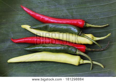 Paprika with duck flavor on banana leaves
