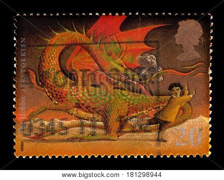 UNITED KINGDOM - CIRCA 1998: A stamp printed in Great Britain shows  illustrations for the book