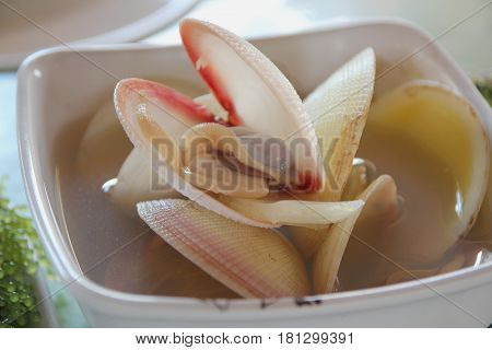 Mussel soup A seafood cuisine that is a favorite of many people.