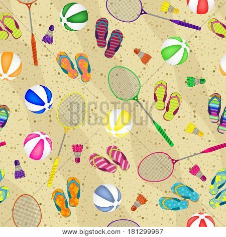 Let's Play Badminton. Seamless Background Of Badminton Rackets, Balls, Beach Slippers And Shuttlecoc