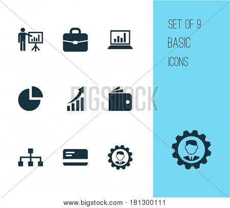 Trade Icons Set. Collection Of Leader, Hierarchy, Billfold And Other Elements. Also Includes Symbols Such As Suitcase, Graph, Presentation.