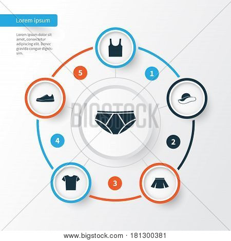Clothes Icons Set. Collection Of Singlet, Stylish Apparel, Sneakers And Other Elements. Also Includes Symbols Such As Skirt, Singlet, Underpants.