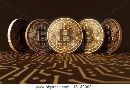Five Virtual Coins Bitcoins On Printed Circuit Board. 3D Illustration.
