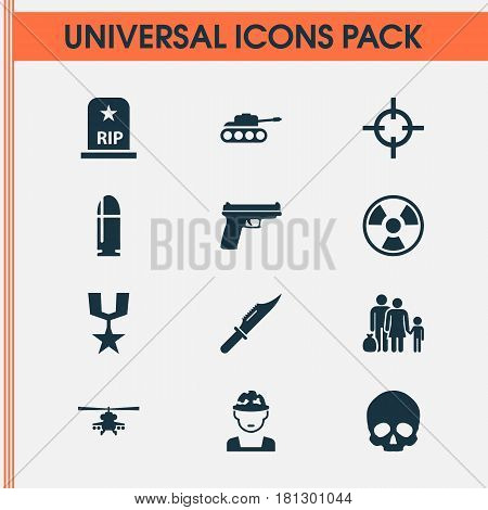 Combat Icons Set. Collection Of Chopper, Military, Cutter And Other Elements. Also Includes Symbols Such As Cutter, Grave, Bullet.