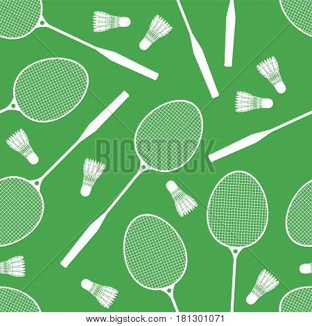 Let's Play Badminton. Seamless Background Of Badminton Rackets And Shuttlecocks. Pattern