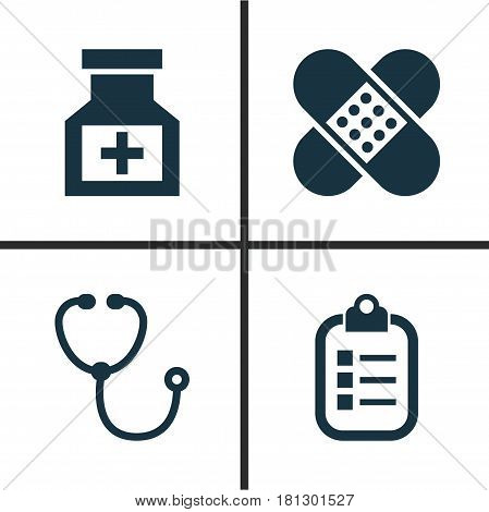 Drug Icons Set. Collection Of Mark, Drug, Bandage Elements. Also Includes Symbols Such As Device, Medicine, Help.
