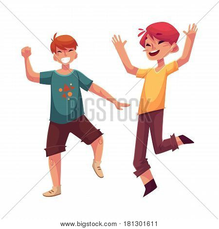 Two funny boys, kids having fun, dancing at party, cartoon vector illustration isolated on white background. Happy boys dancing, jumping at a kids, birthday party, having fun