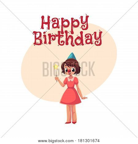 Happy birthday vector greeting card, poster, banner design with Girl, wearing clown red nose, cartoon vector illustration. Full length portrait of little girl, happy birthday greeting card template