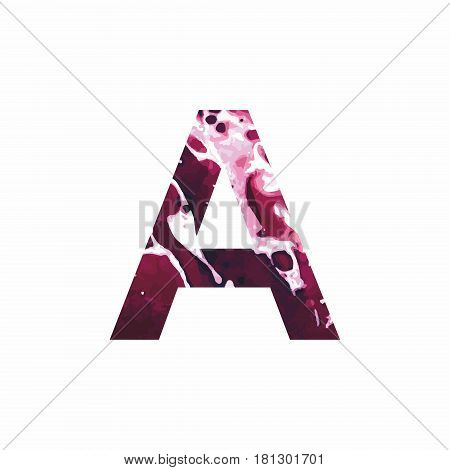 Abstract letter A on a white background in the form of stains of paint. Reminiscent of marble