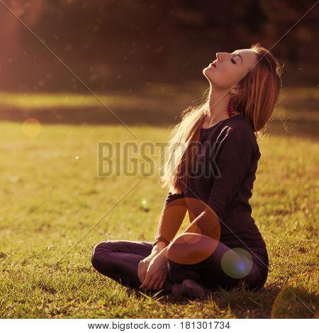 Beautiful Romantic Girl Blonde Relaxing In The Sun Sitting