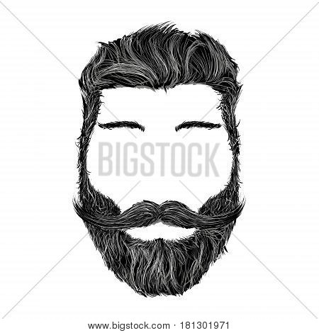 Human head with the hairstyle mustache and beard isolated on white background. Stock vector illustration.