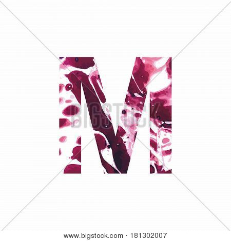 Abstract letter M on a white background in the form of stains of paint. Reminiscent of marble
