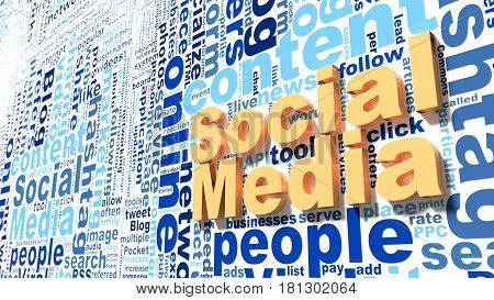 Social media keywords wordcloud on wall networking concept 3d illustration