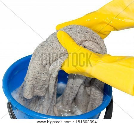 Rinse cloth on a white background . A photo