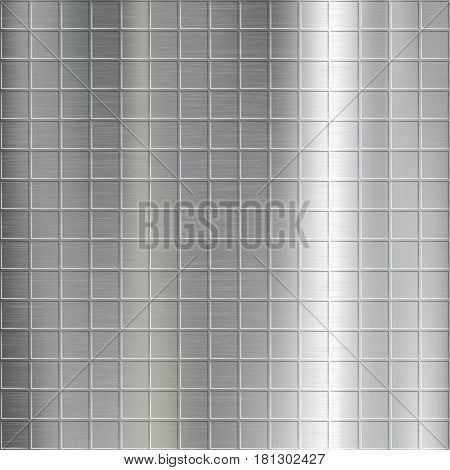 Texture of brushed metal with a geometrical pattern. Industrial background. Stock vector illustration.