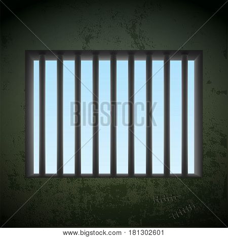 Window with bars in a prison cell. Stock vector illustration.