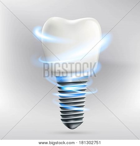 Icon human dental implant. Stock vector illustration.