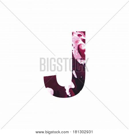 Abstract letter J on a white background in the form of stains of paint. Reminiscent of marble