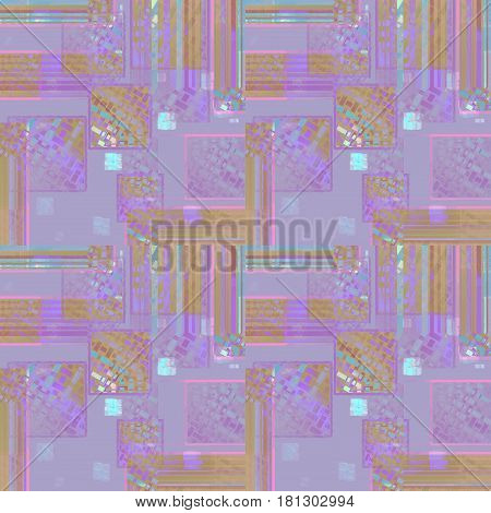 Abstract geometric seamless background. Intricate squares pattern in purple, violet ocher brown and turquoise blue shades.