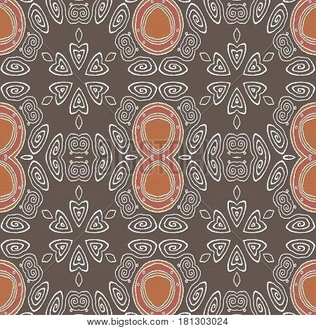 Abstract geometric background. Regular ellipses and spiral ornaments in brown shades with white outlines.