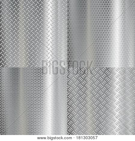 Set of metal plates with geometric pattern. Stock vector illustration.