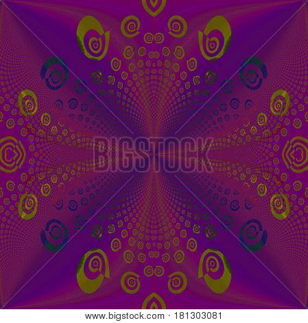 Abstract geometric background. Regular spiral pattern purple, violet and olive green, ornate and centered.