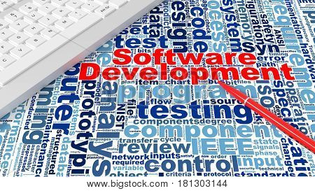 Computer keyboard on white desk with software development keywords wordcloud and red pen engineering concept 3d illustration