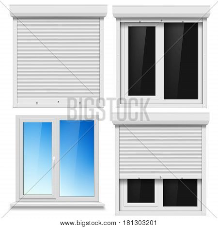 Set of PVC windows and metal roller blind isolated on white background. Stock vector illustration.