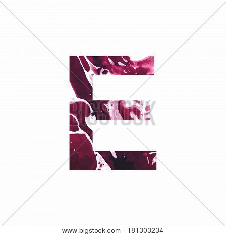 Abstract letter E on a white background in the form of stains of paint. Reminiscent of marble