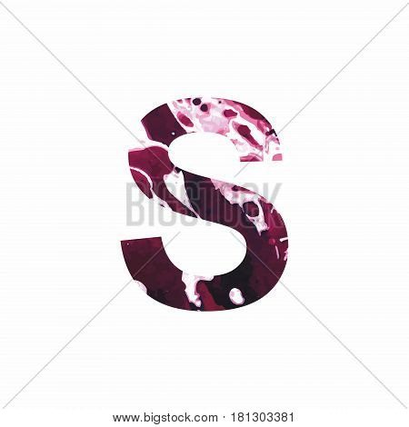 Abstract letter S on a white background in the form of stains of paint. Reminiscent of marble