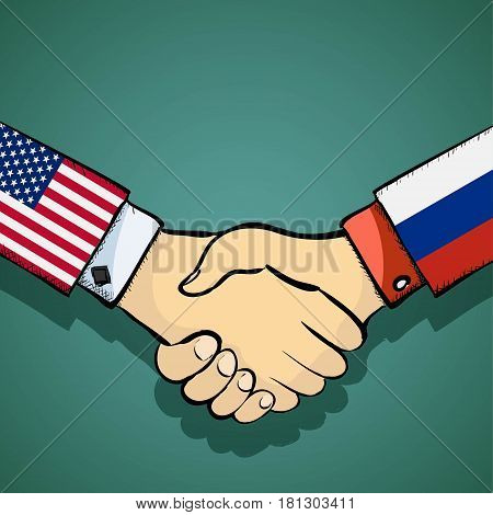 Handshake of two people. Policy between the USA and Russia. Stock vector illustration.