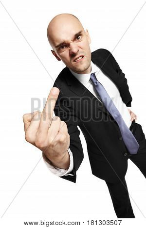 Young Businessman Shows Middle Finger