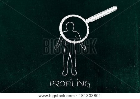 man with huge magnifying glass scanning him concept of customer profiling