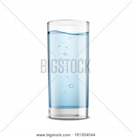 Glass of clean water isolated on white background. Stock vector illustration.