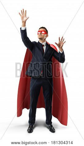 A businessman in a formal suit and superhero cape manipulating invisible digital screen objects. Business and technology. Augmented reality screens. Progressive approach.