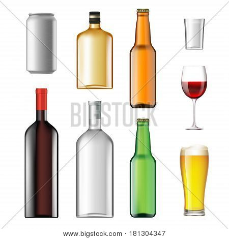 Bottles with alcoholic drinks isolated on white background. Stock vector illustration.
