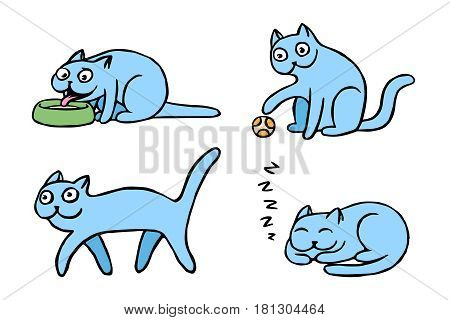 Blue pussycat emoticons set. Funny cartoon cool character. Contour digital drawing cute cats. White color background. Cheerful pet collection for web icons and shirt. Isolated vector illustration.