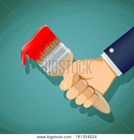 Man holds in his hand a paintbrush. Repair and construction. Stock Vector cartoon illustration.