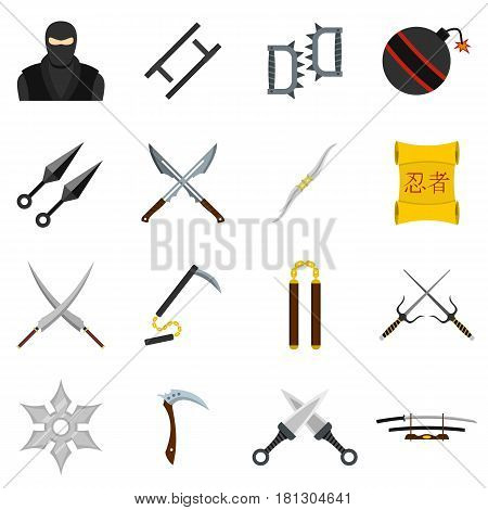 Ninja tools icons set in flat style isolated vector illustration