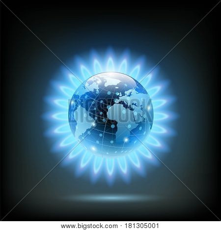 Round blue flame of butane with Planet Earth inside. Gas production in the world. Stock vector illustration.
