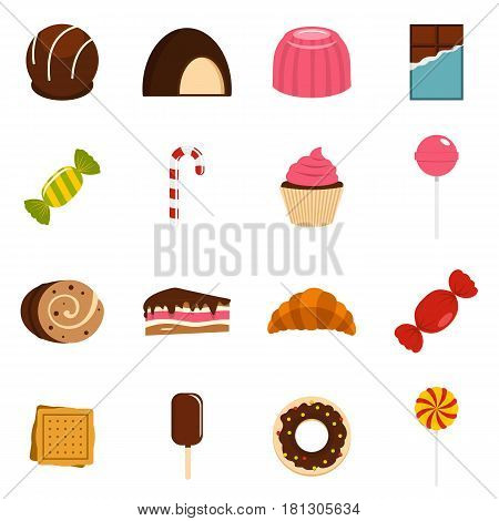 Sweets and candies icons set in flat style isolated vector illustration