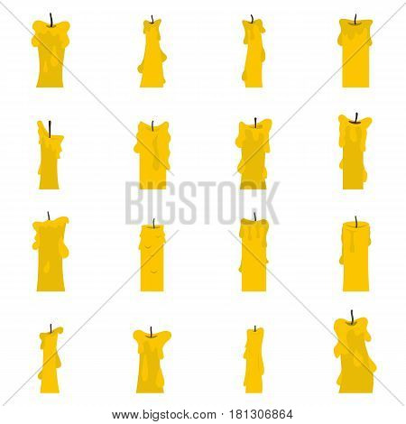 Candle forms icons set in flat style isolated vector illustration