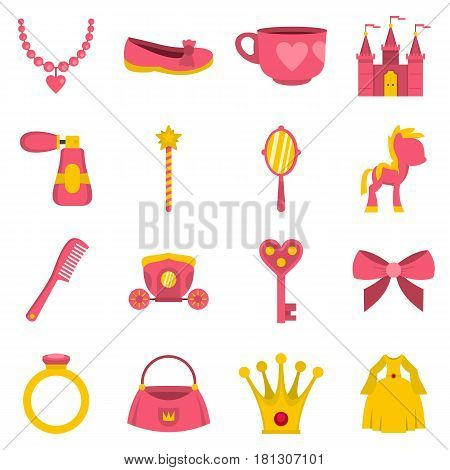 Doll princess items icons set in flat style isolated vector illustration