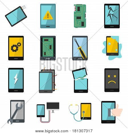 Device repair symbols icons set in flat style isolated vector illustration