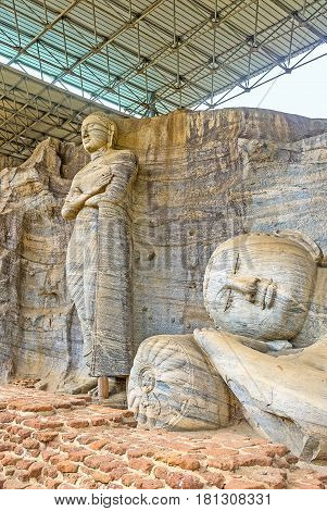 The Carved Statues In Gal Viharaya